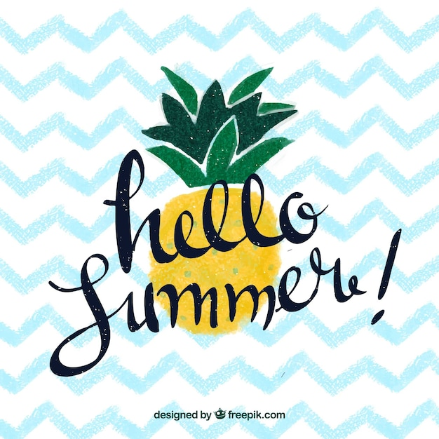 Hello summer background with pineapple and lettering Free Vector