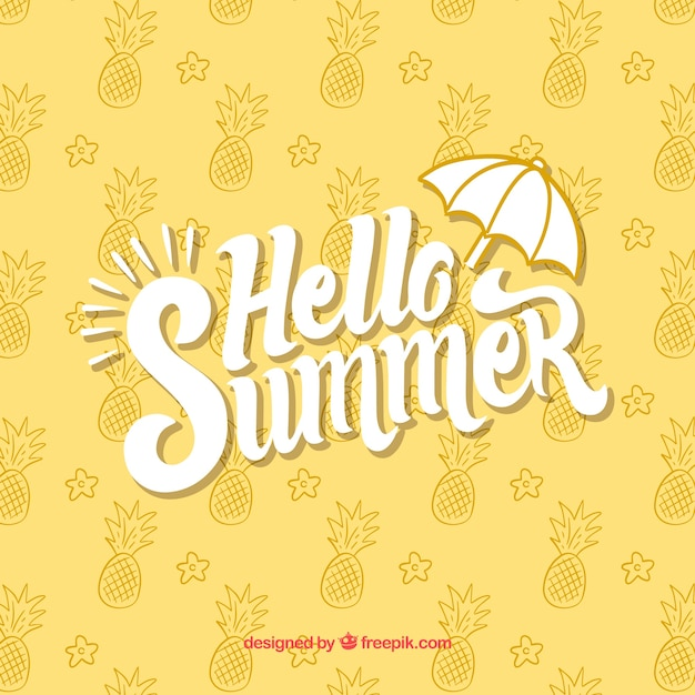 Hello Summer Background With Pineapples Pattern Free Vector