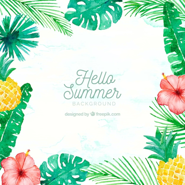 Hello summer background with plants and fruits in watercolor style hello summer background with plants and fruits in watercolor style free vector voltagebd Images