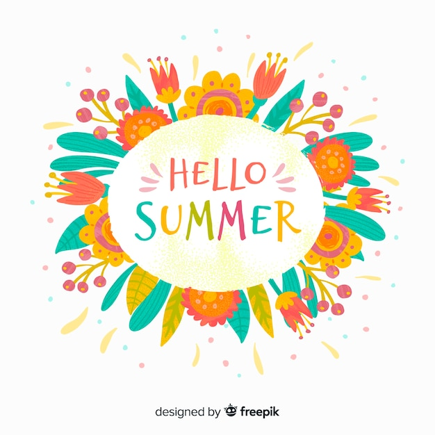 Hello summer background Free Vector