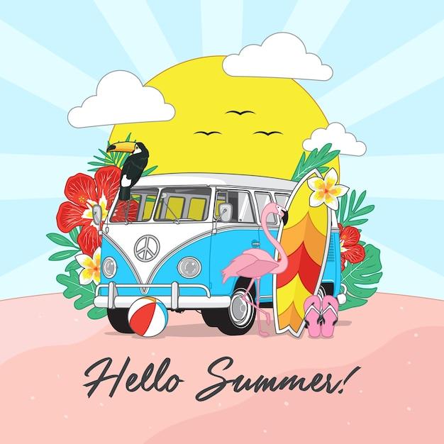 Hello summer background Premium Vector