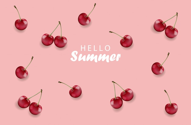 Hello summer banner with cherry fruits and rose background Free Vector