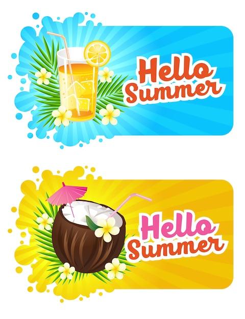 Hello summer banner with fresh drink Premium Vector
