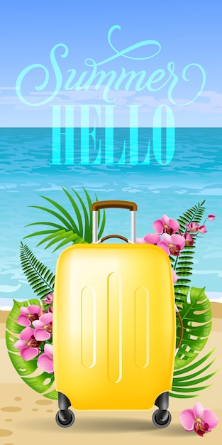 Hello summer banner with tropical leaves, pink\ flowers, yellow travel case