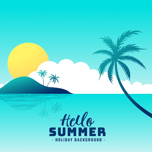 Hello summer beach paradise holiday background Free Vector