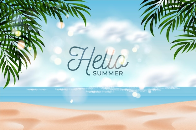 Hello summer on the beach realistic background Free Vector
