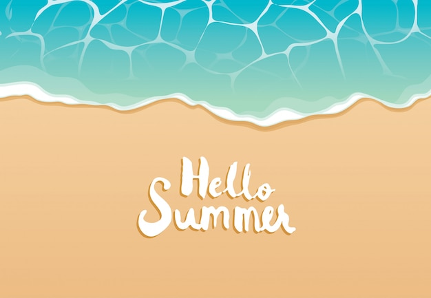 Hello summer beach top view travel and vacation background Premium Vector