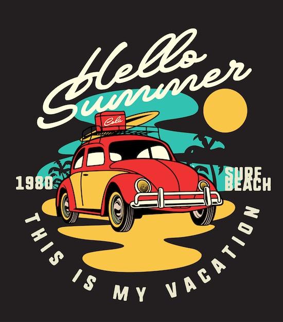 Hello summer beetle Premium Vector