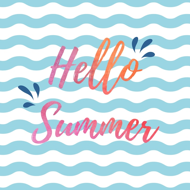 Hello summer blue and white waves background\ design