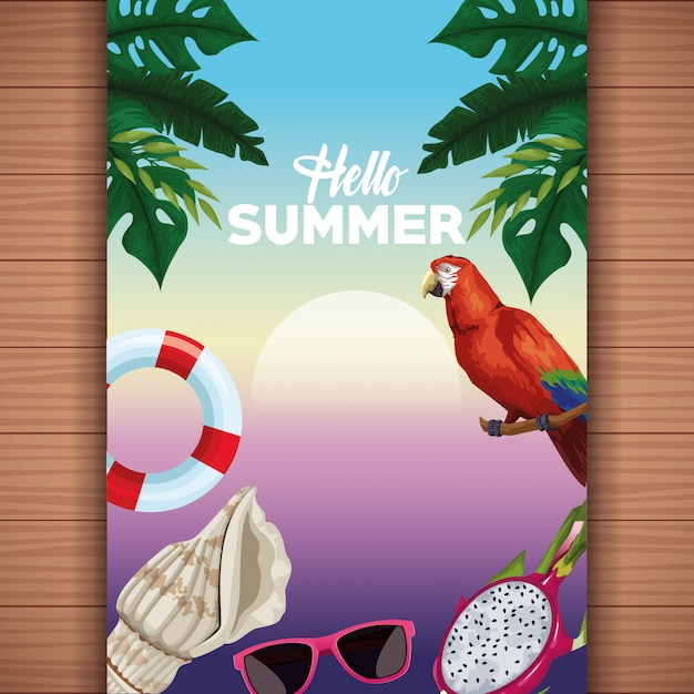 Hello summer card on wooden background Free Vector