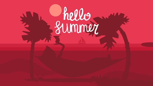 Hello summer concept Premium Vector