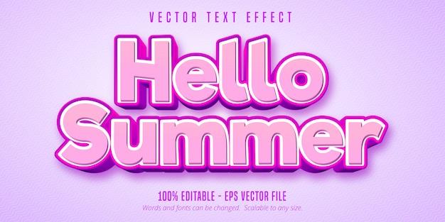 Привет лето редактируемый текстовый эффект Premium векторы
