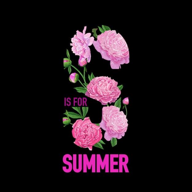 こんにちは夏の花柄牡丹の花 Premiumベクター