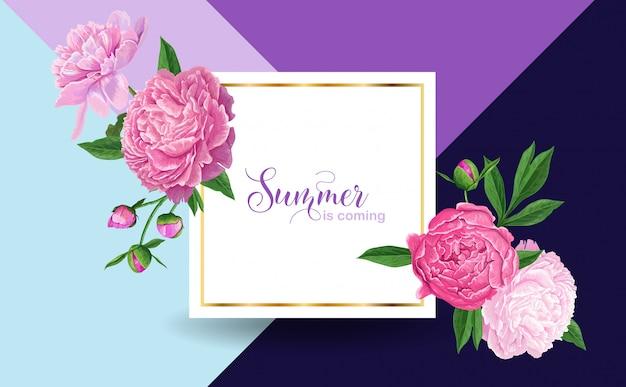 牡丹の花とこんにちは夏の花柄のデザイン Premiumベクター