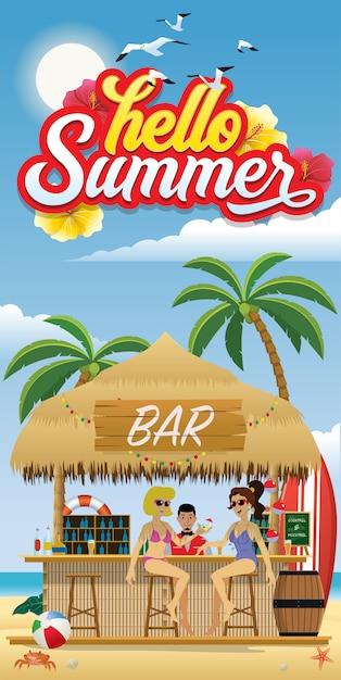 Hello summer flyer with beach bar Premium Vector
