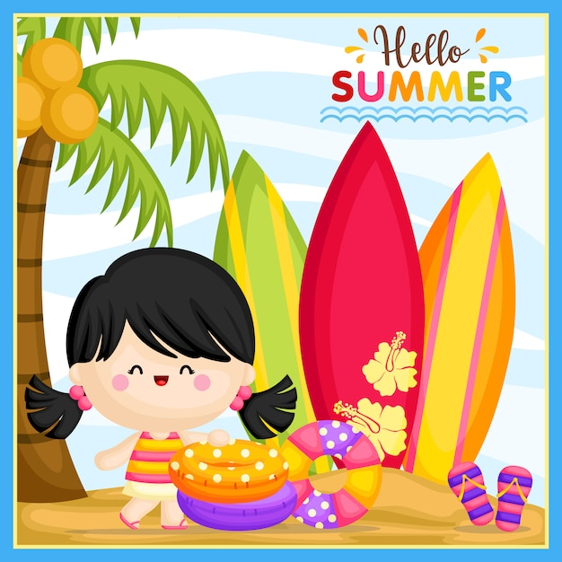 Hello summer girl Premium векторы
