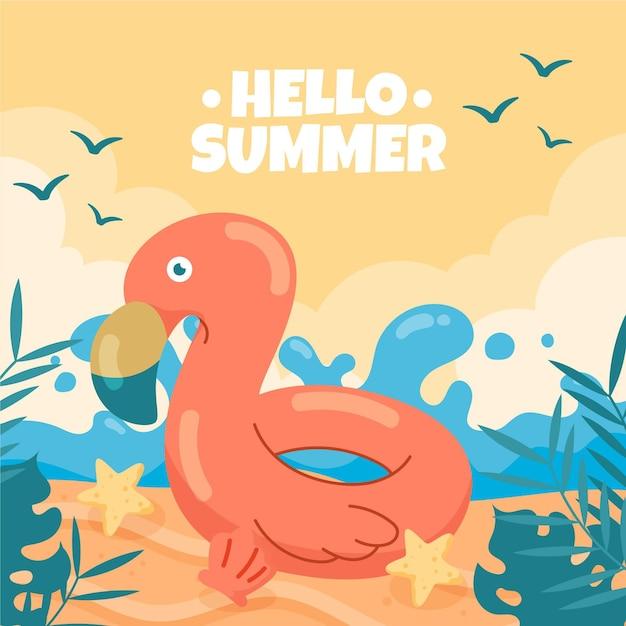 Привет летом рисованной фон Бесплатные векторы