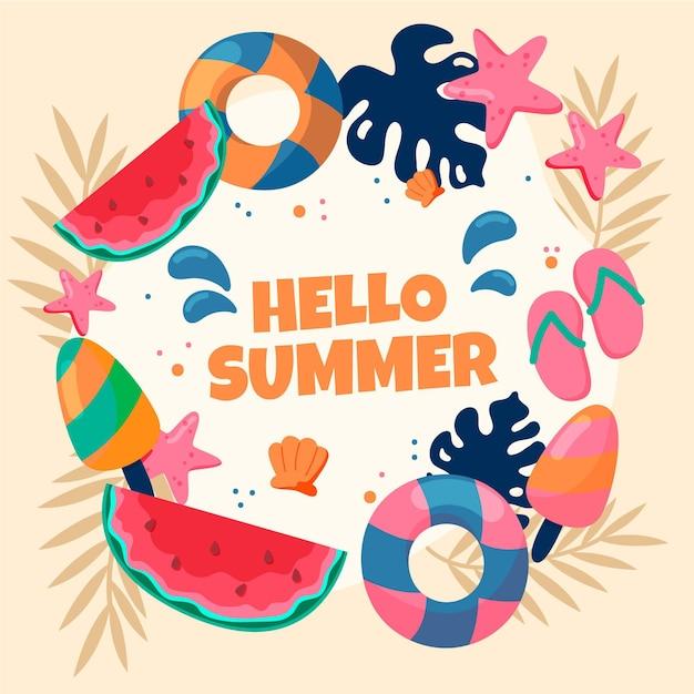 Привет лето рисованной обои Бесплатные векторы