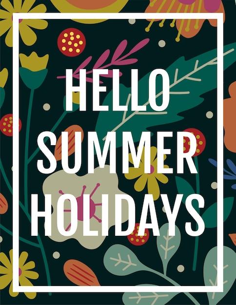 Hello Summer Holidays Card Background Premium Vector