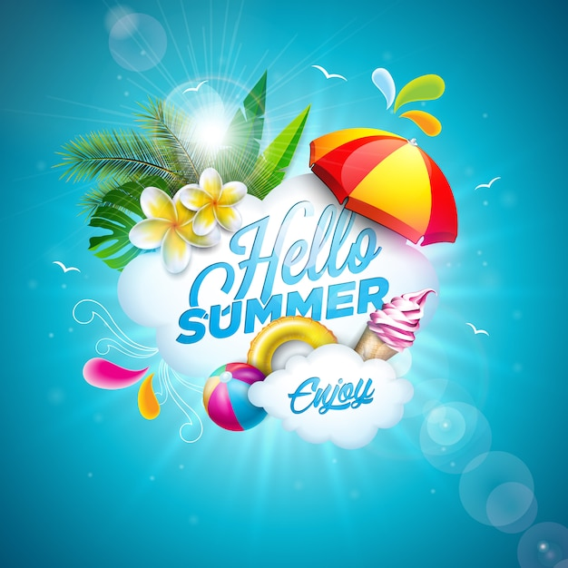 Hello summer illustration with flower and beach ball Premium Vector