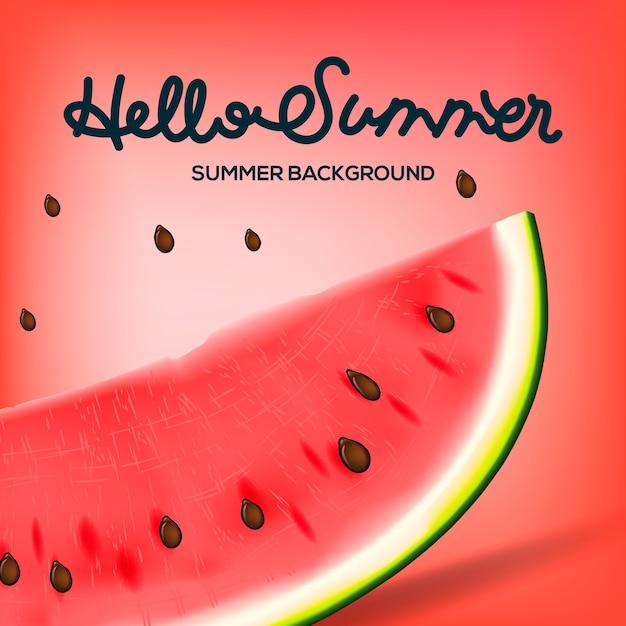 Здравствуйте, лето надпись на фоне арбуза. желтая мода, иллюстрация Premium векторы
