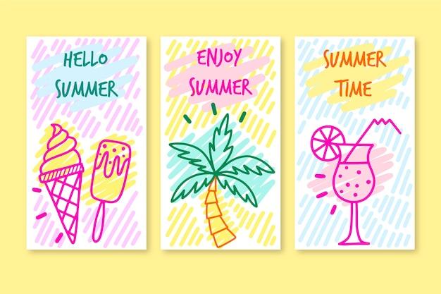 안녕하세요 여름 인스 타 그램 스토리 컬렉션 무료 벡터
