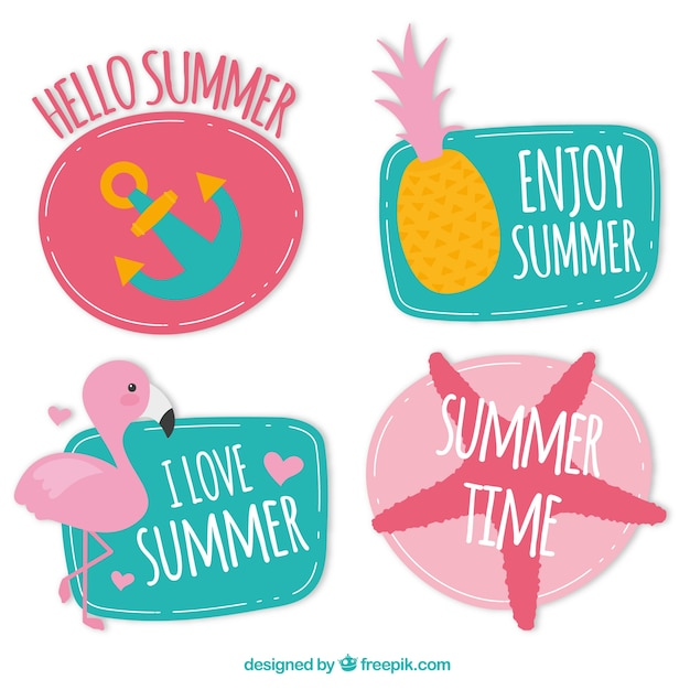 hello summer label collection vector free download