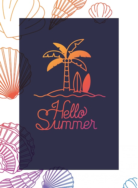 Hello summer label with colorful image Premium Vector