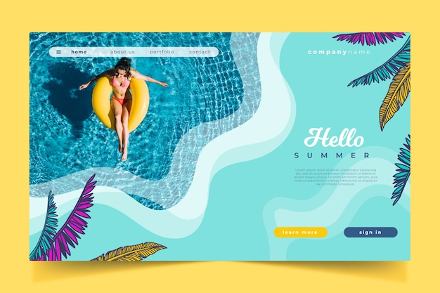 Hello summer landing page and swimming pool Free Vector