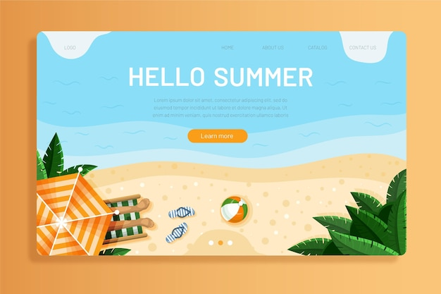 Hello summer landing page template with photo Free Vector