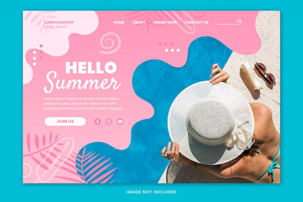 Hello summer landing page template Free Vector