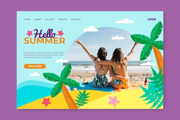 Привет летняя целевая страница с пляжем и пальмами Бесплатные векторы