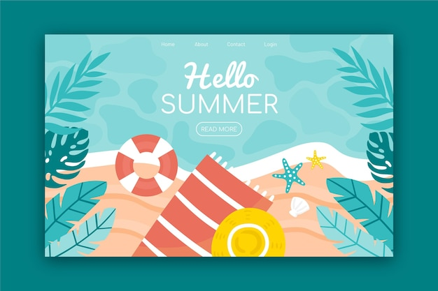 Hello summer landing page with beach and leaves Premium Vector