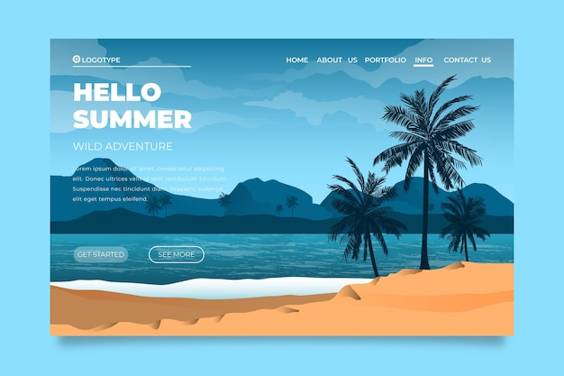 Hello summer landing page with beach and sea Free Vector