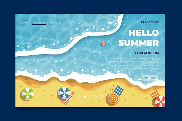Hello summer landing page with beach Free Vector