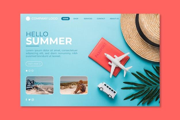Привет летняя посадочная страница с шляпой и самолетом Бесплатные векторы