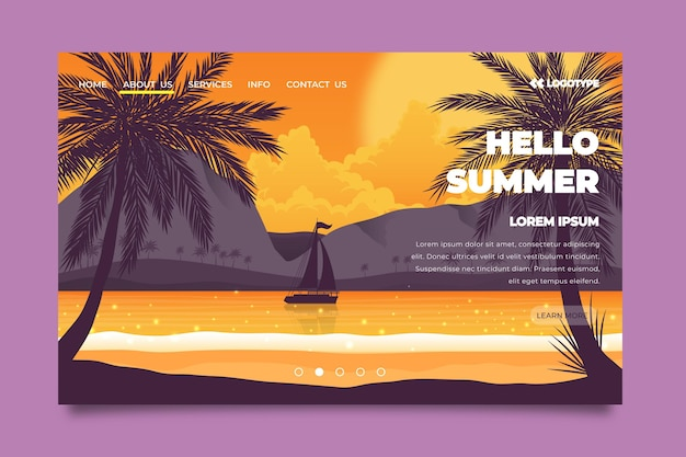 Hello summer landing page with sea and boat Free Vector