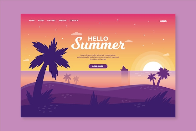 Hello summer landing page with sunset on beach Free Vector