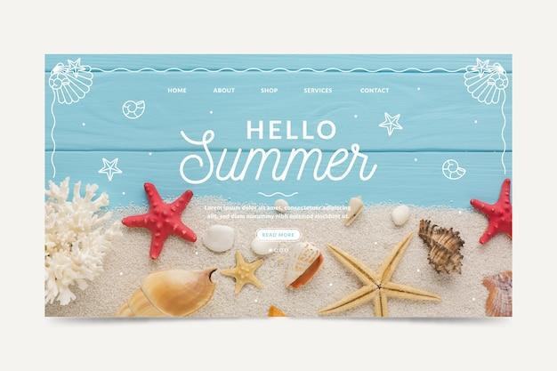 こんにちは夏のランディングページ Premiumベクター