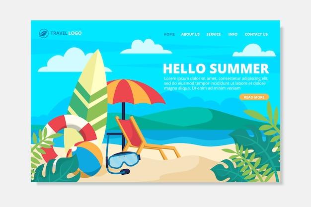 안녕하세요 여름 방문 페이지 무료 벡터