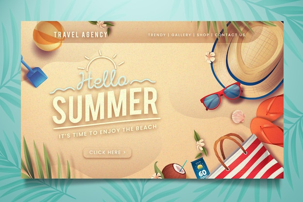 Hello summer landing page Free Vector