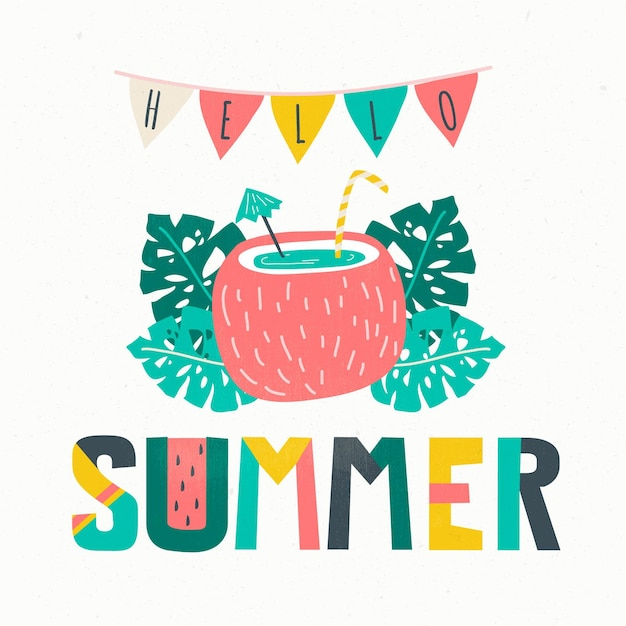 Hello summer lettering background Free Vector