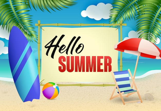 Hello summer lettering, chaise longue, umbrella and surfboard Free Vector