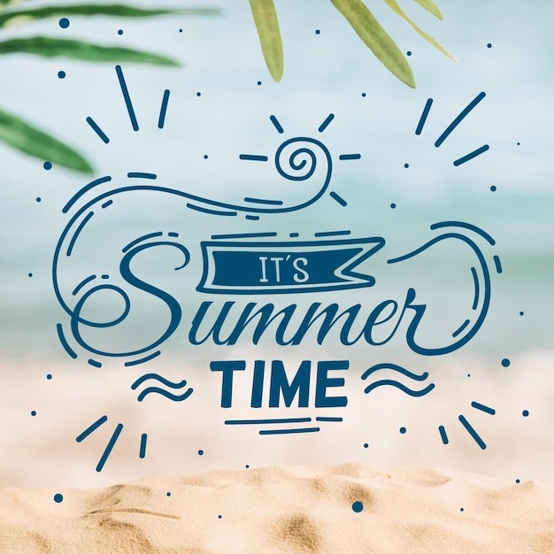 Hello summer lettering message concept Free Vector