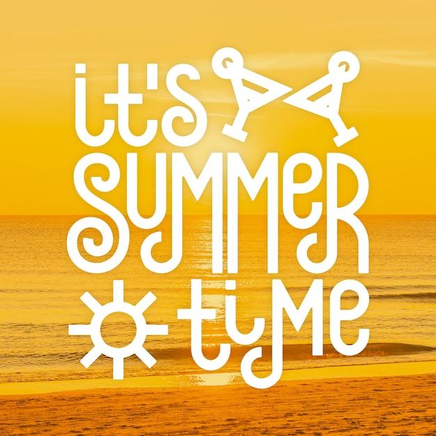 Hello summer lettering message design Free Vector