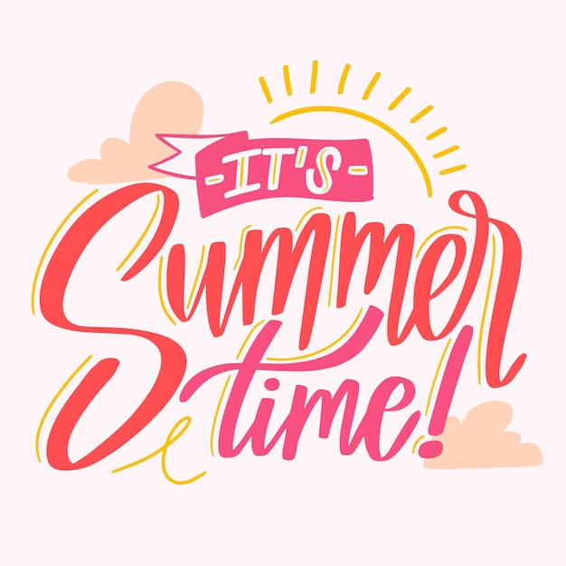 Hello summer lettering message style Free Vector