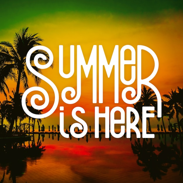 Hello summer lettering message theme Free Vector