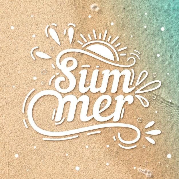 Hello summer lettering message Premium Vector
