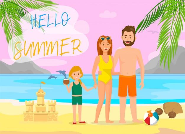 Hello summer lettering vector color travel banner. Premium Vector