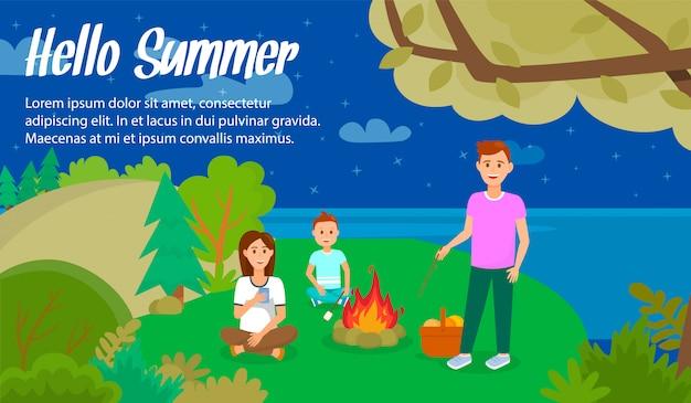 Hello summer lettering vector horizontal banner. Premium Vector
